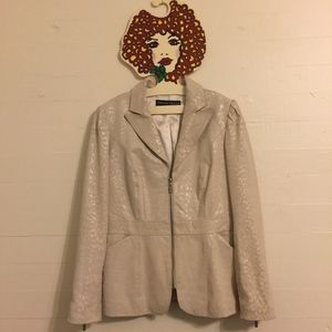 PAMELA MCCOY Cream Leather Zipper Blazer Jacket S